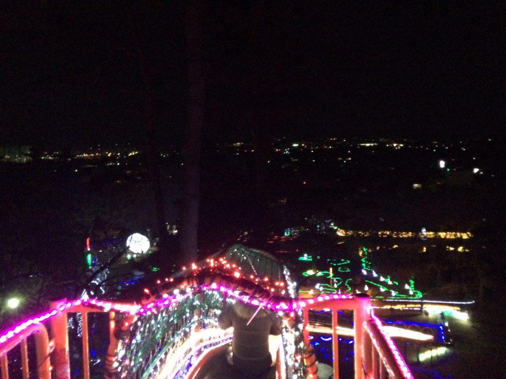 ローラー滑り台の上から見えるプチ夜景