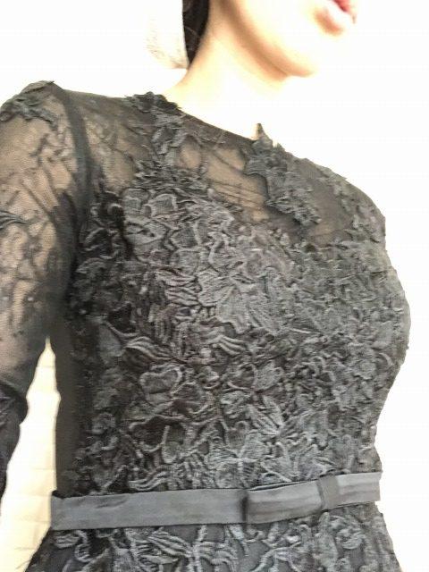 タイドバイレース切替カットワーク刺繍ワンピ